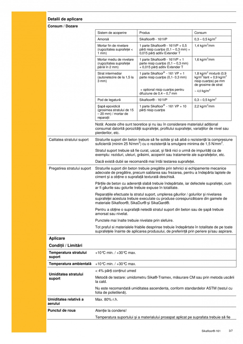 Pagina 3 - Amorsa bicomponenta epoxidica, mortar de nivelare si reparatii, strat intermediar SIKA...