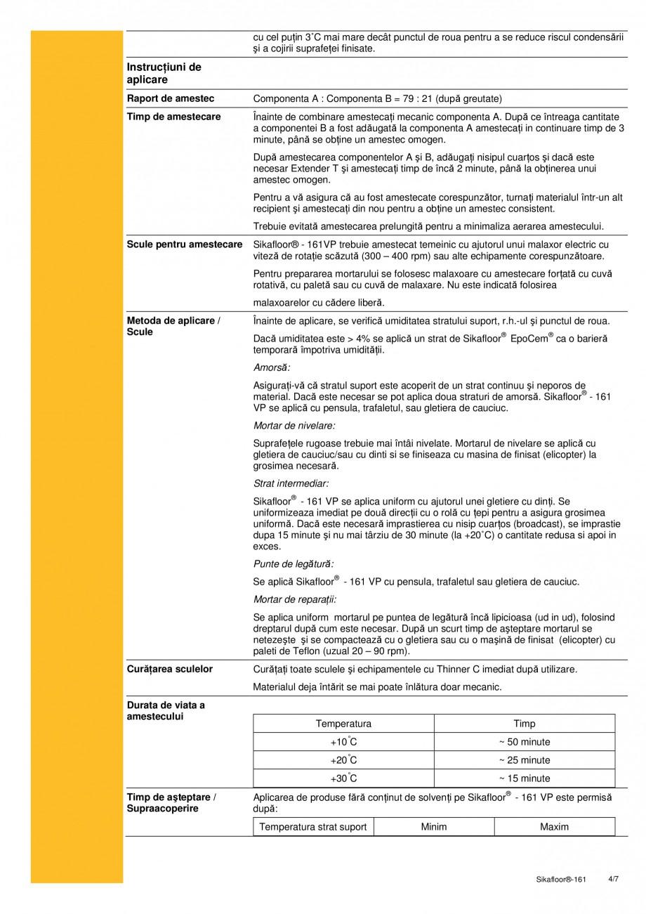 Pagina 4 - Amorsa bicomponenta epoxidica, mortar de nivelare si reparatii, strat intermediar SIKA...