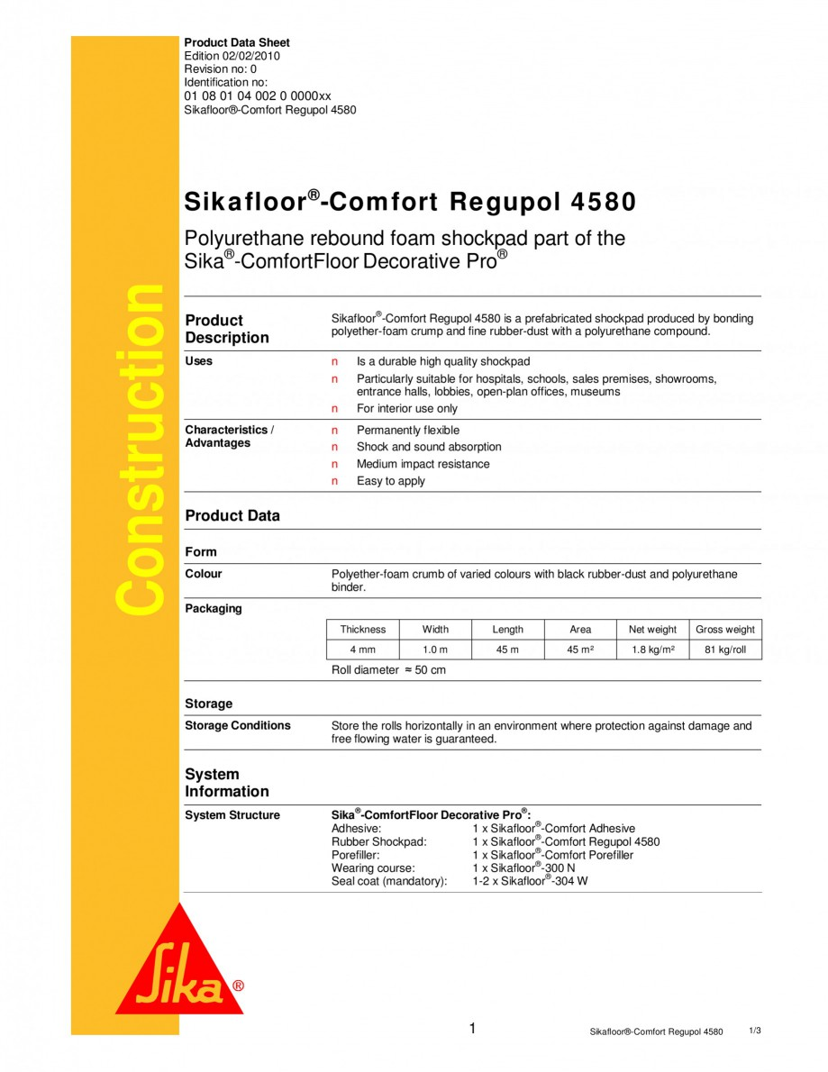 Pagina 1 - Covor din spuma PU si cauciuc reciclabil SIKA Sikafloor®-Comfort Regupol 4580,...