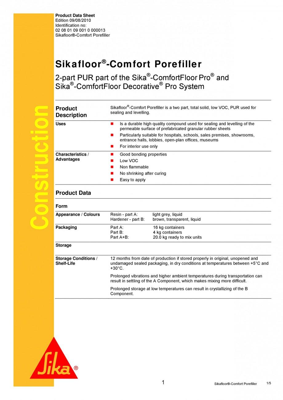 Pagina 1 - Produs poliuretanic pentru sigilare si nivelare SIKA Sika®-ComfortFloor® Pro,...