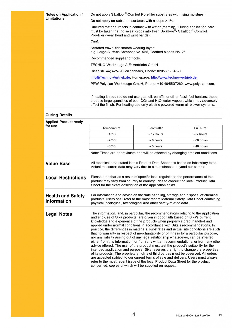 Pagina 4 - Produs poliuretanic pentru sigilare si nivelare SIKA Sika®-ComfortFloor® Pro,...