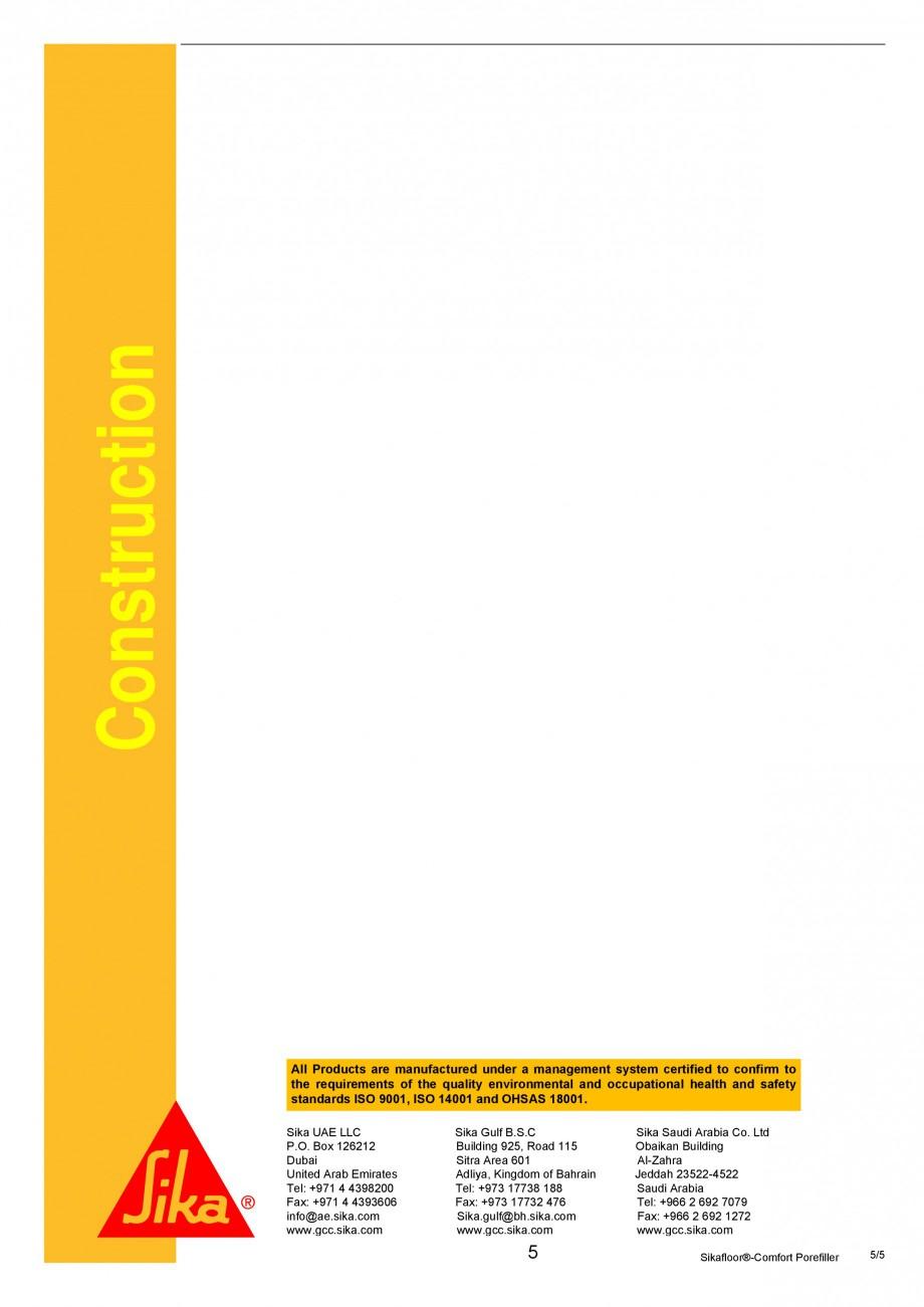 Pagina 5 - Produs poliuretanic pentru sigilare si nivelare SIKA Sika®-ComfortFloor® Pro,...