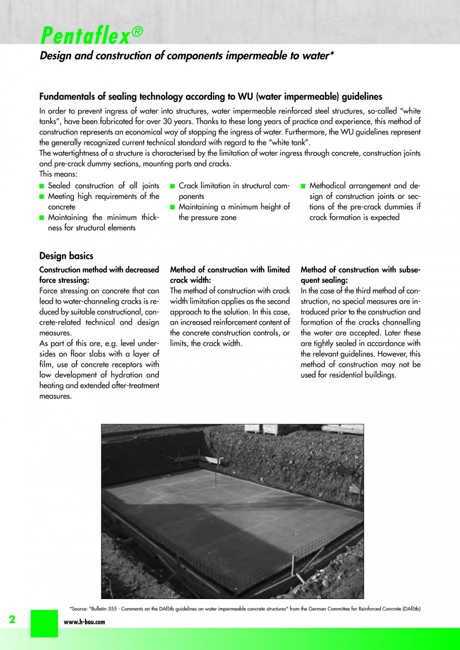 Pagina 4 - Hidroizolatie pentru rosturi de turnare H-BAU Technik PENTAFLEX Catalog, brosura Engleza ...