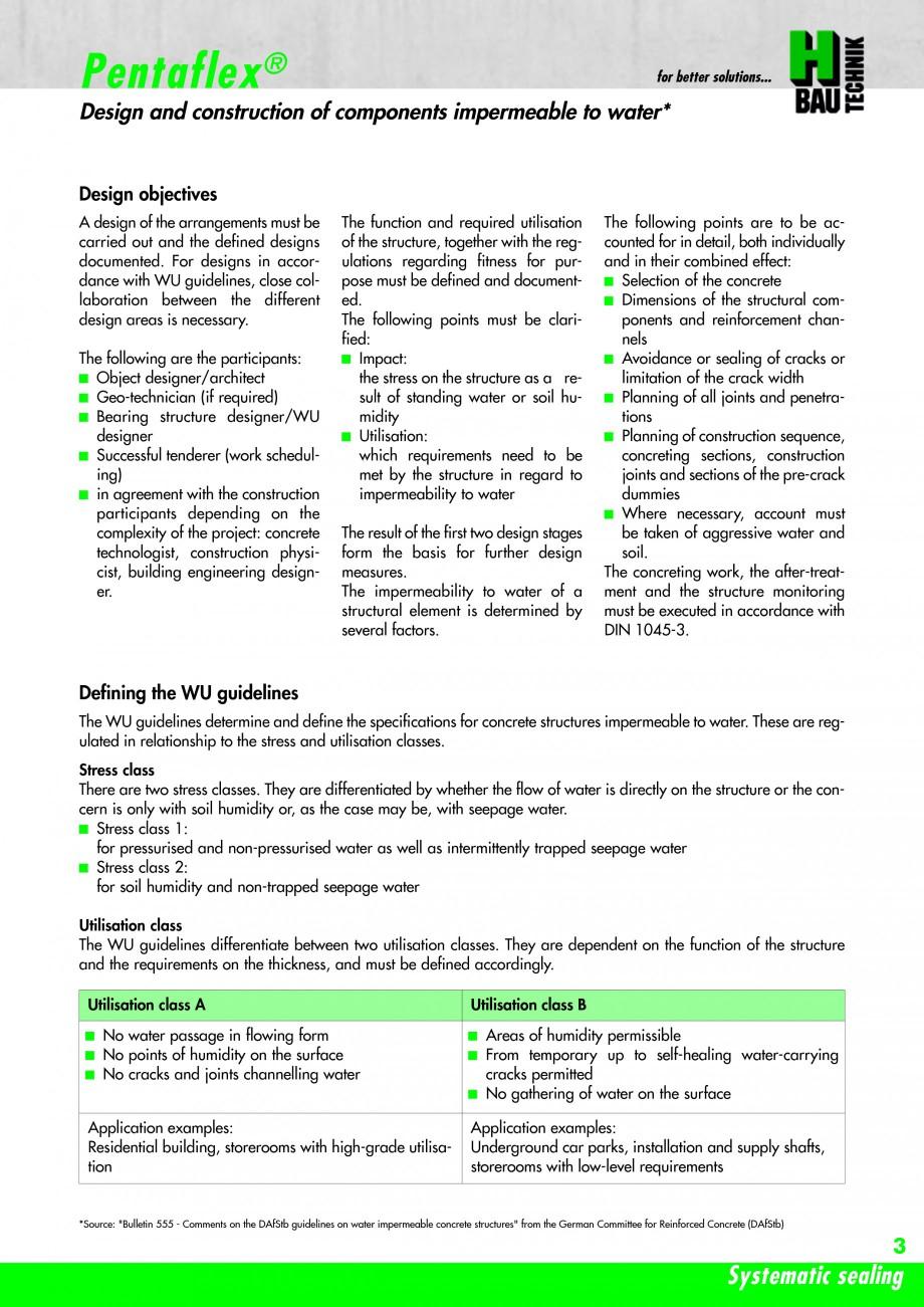 Pagina 5 - Hidroizolatie pentru rosturi de turnare H-BAU Technik PENTAFLEX Catalog, brosura Engleza ...