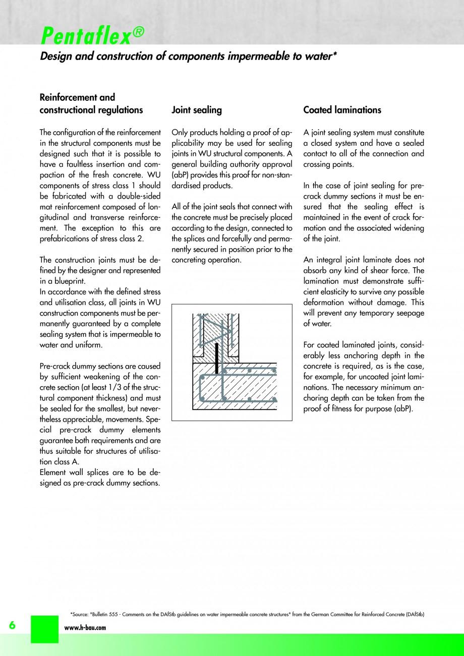 Pagina 8 - Hidroizolatie pentru rosturi de turnare H-BAU Technik PENTAFLEX Catalog, brosura Engleza ...