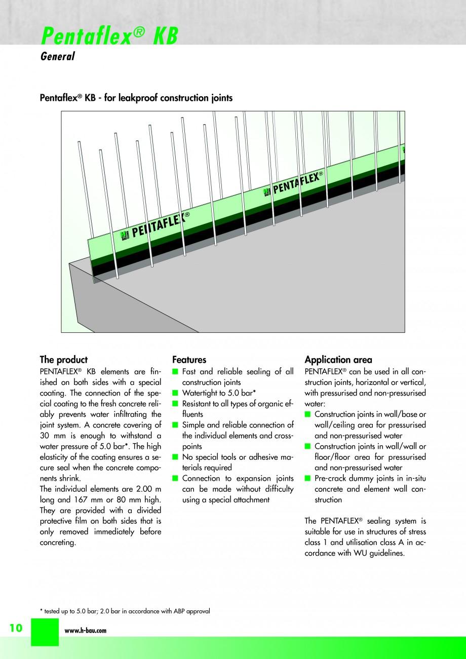 Pagina 12 - Hidroizolatie pentru rosturi de turnare H-BAU Technik PENTAFLEX Catalog, brosura Engleza...