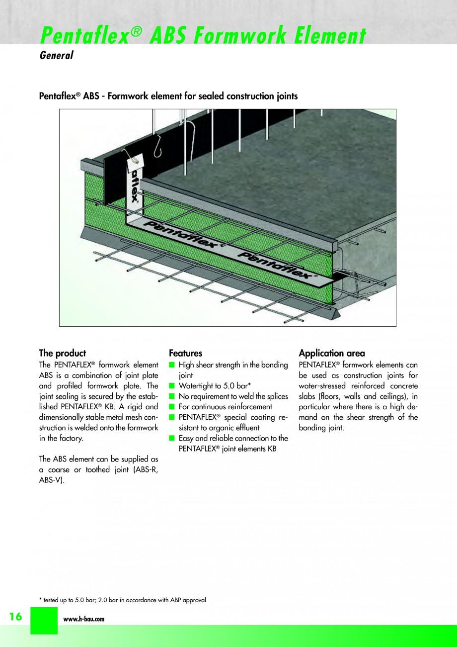 Pagina 18 - Hidroizolatie pentru rosturi de turnare H-BAU Technik PENTAFLEX Catalog, brosura Engleza...