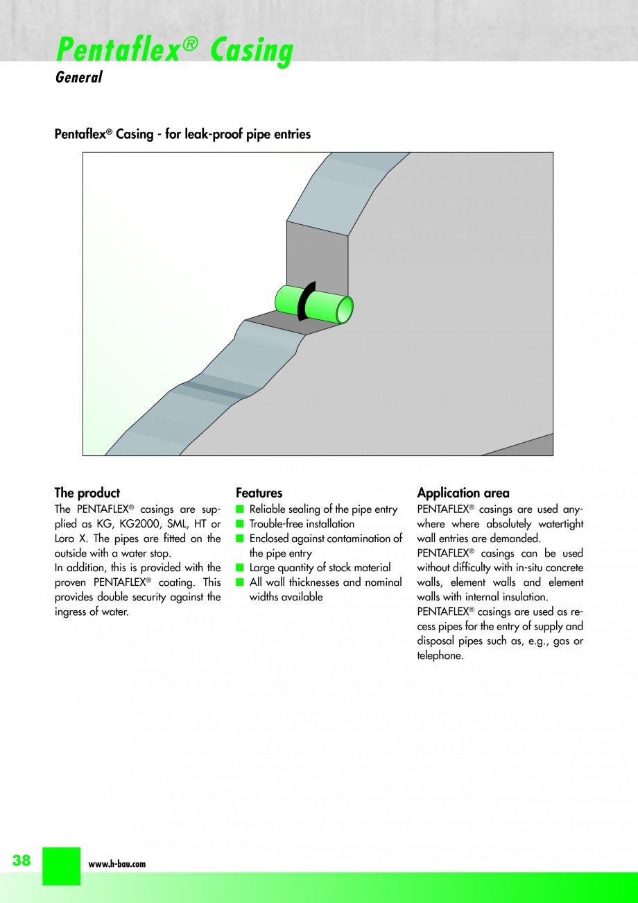 Pagina 40 - Hidroizolatie pentru rosturi de turnare H-BAU Technik PENTAFLEX Catalog, brosura Engleza...