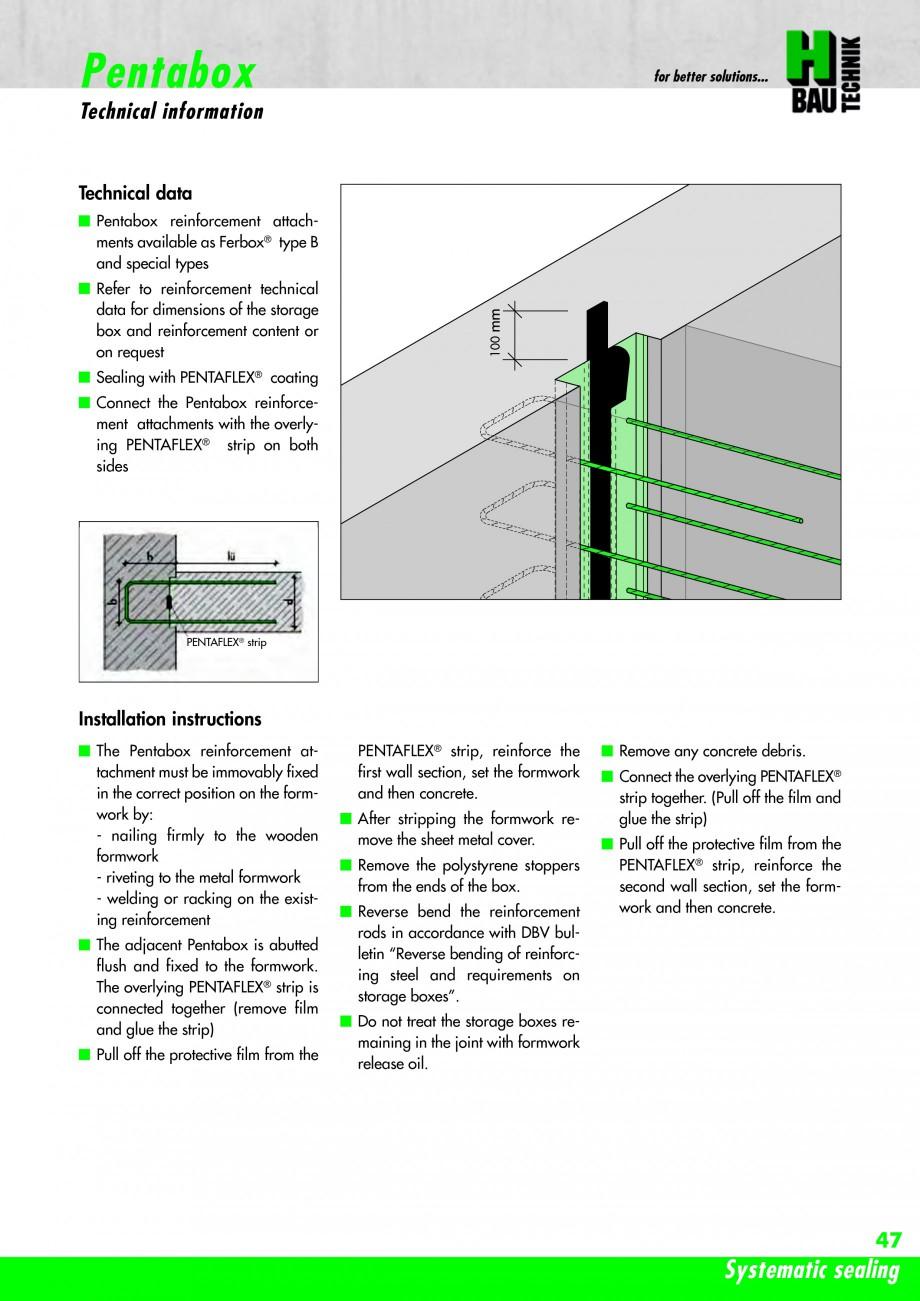 Pagina 49 - Hidroizolatie pentru rosturi de turnare H-BAU Technik PENTAFLEX Catalog, brosura Engleza...