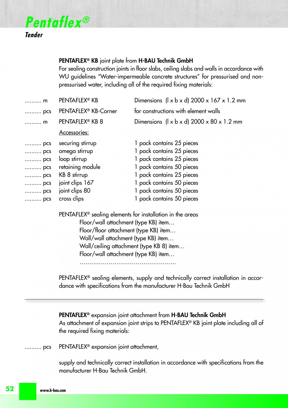 Pagina 54 - Hidroizolatie pentru rosturi de turnare H-BAU Technik PENTAFLEX Catalog, brosura Engleza...