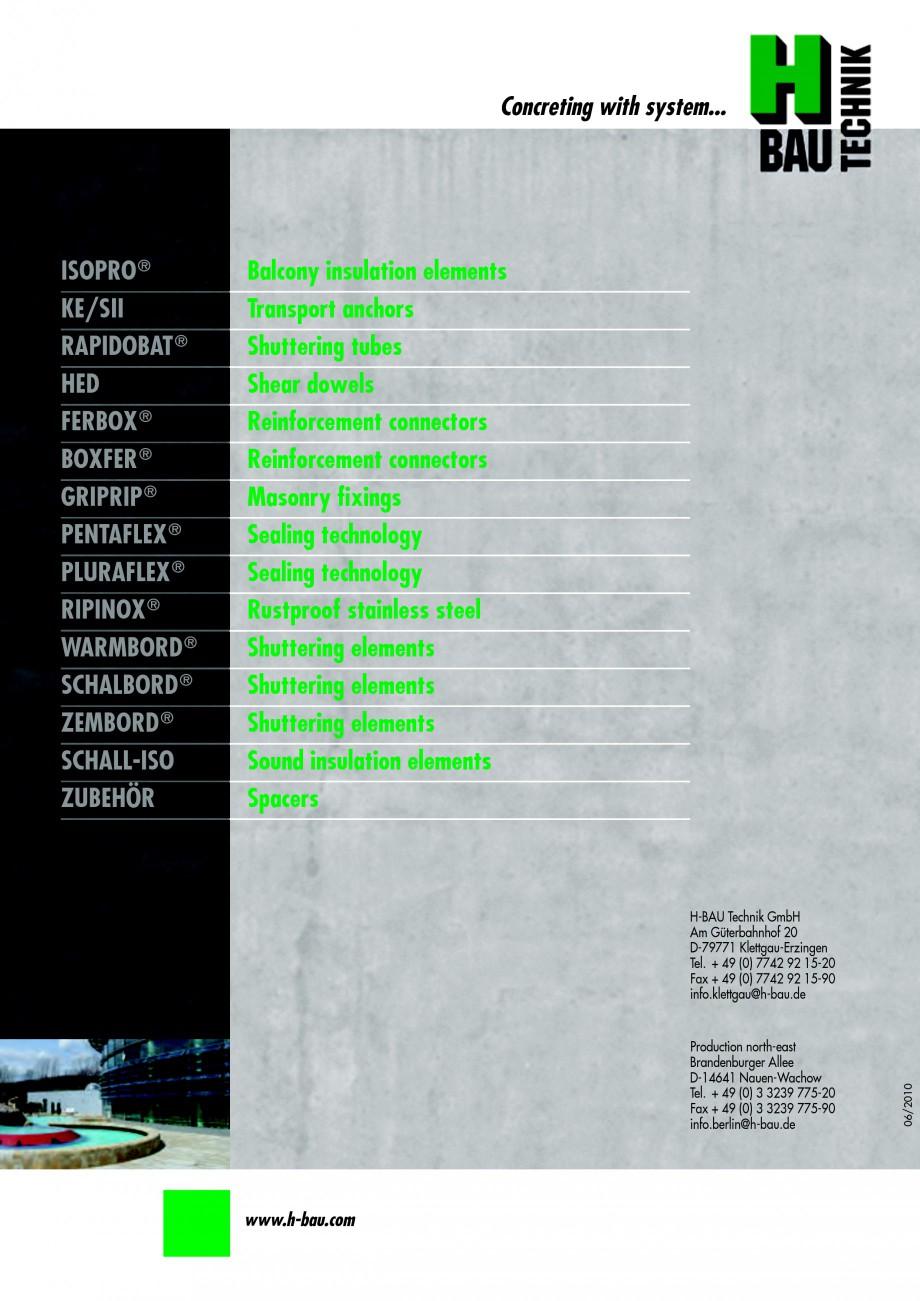 Pagina 64 - Hidroizolatie pentru rosturi de turnare H-BAU Technik PENTAFLEX Catalog, brosura Engleza...
