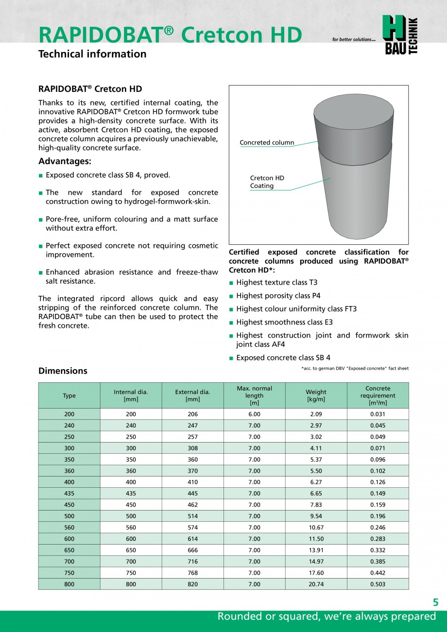 Pagina 5 - Cofraje circulare - RAPIDOBAT H-BAU Technik Fisa tehnica Engleza in joint class AF4...