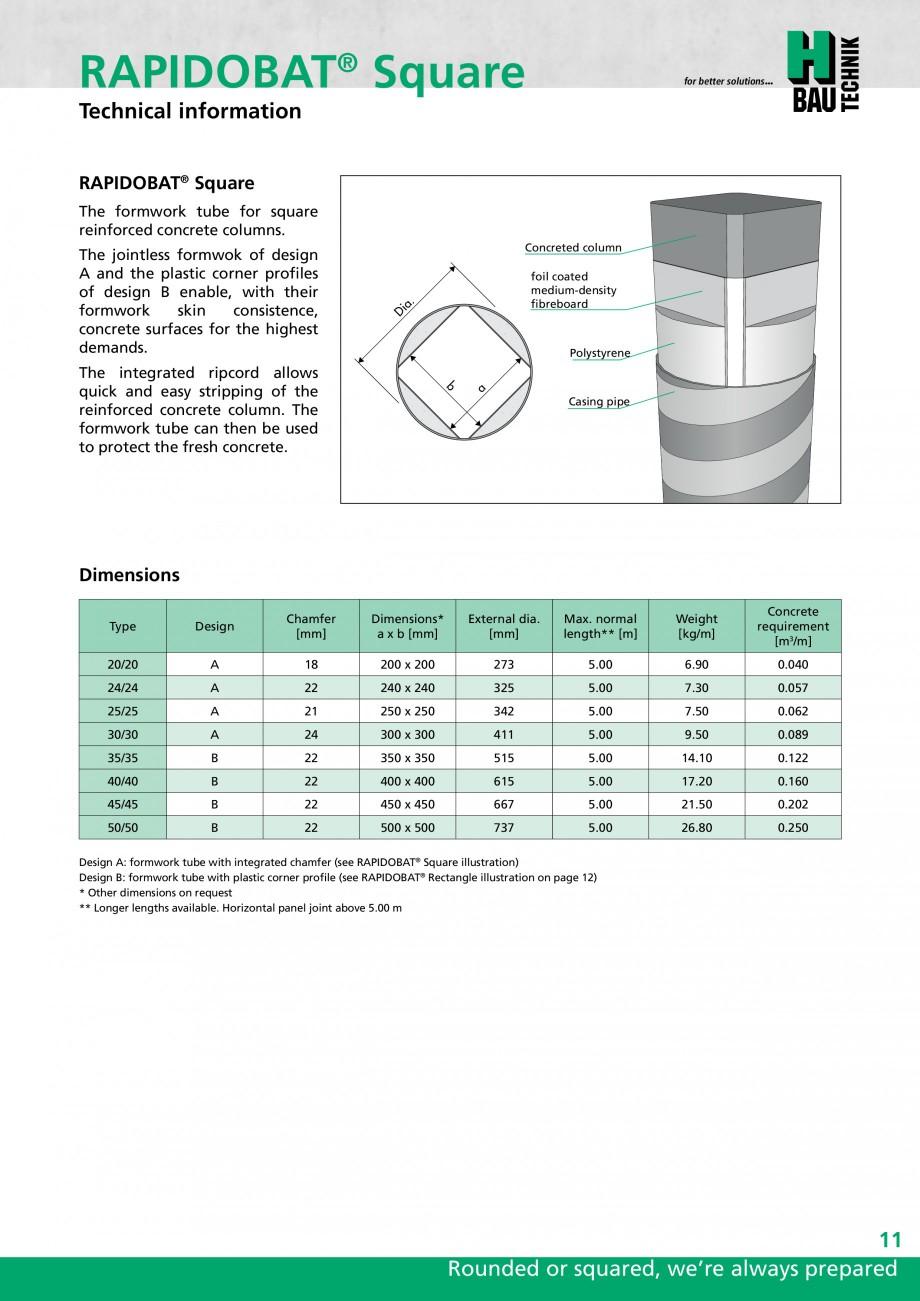 Pagina 11 - Cofraje circulare - RAPIDOBAT H-BAU Technik Fisa tehnica Engleza bH, and the journal BFT...