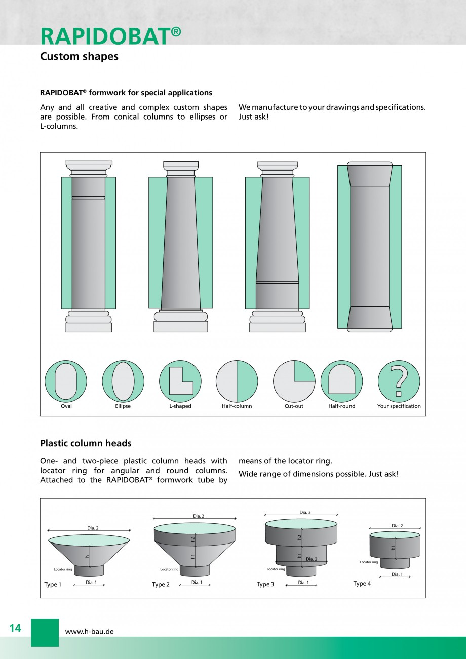Pagina 14 - Cofraje circulare - RAPIDOBAT H-BAU Technik Fisa tehnica Engleza   0.149  450  450  462 ...