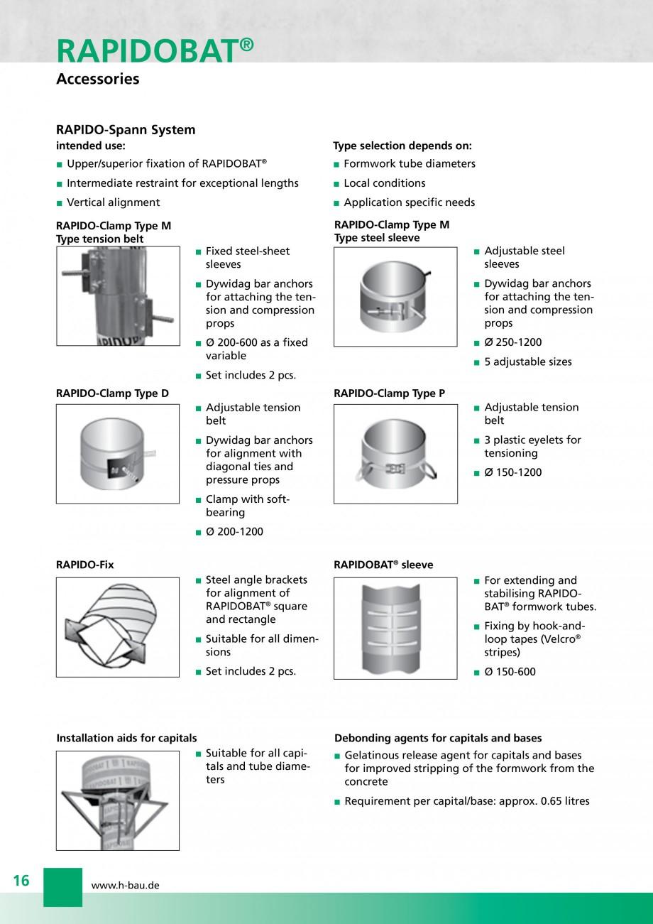 Pagina 16 - Cofraje circulare - RAPIDOBAT H-BAU Technik Fisa tehnica Engleza ng pipe  Dimensions...