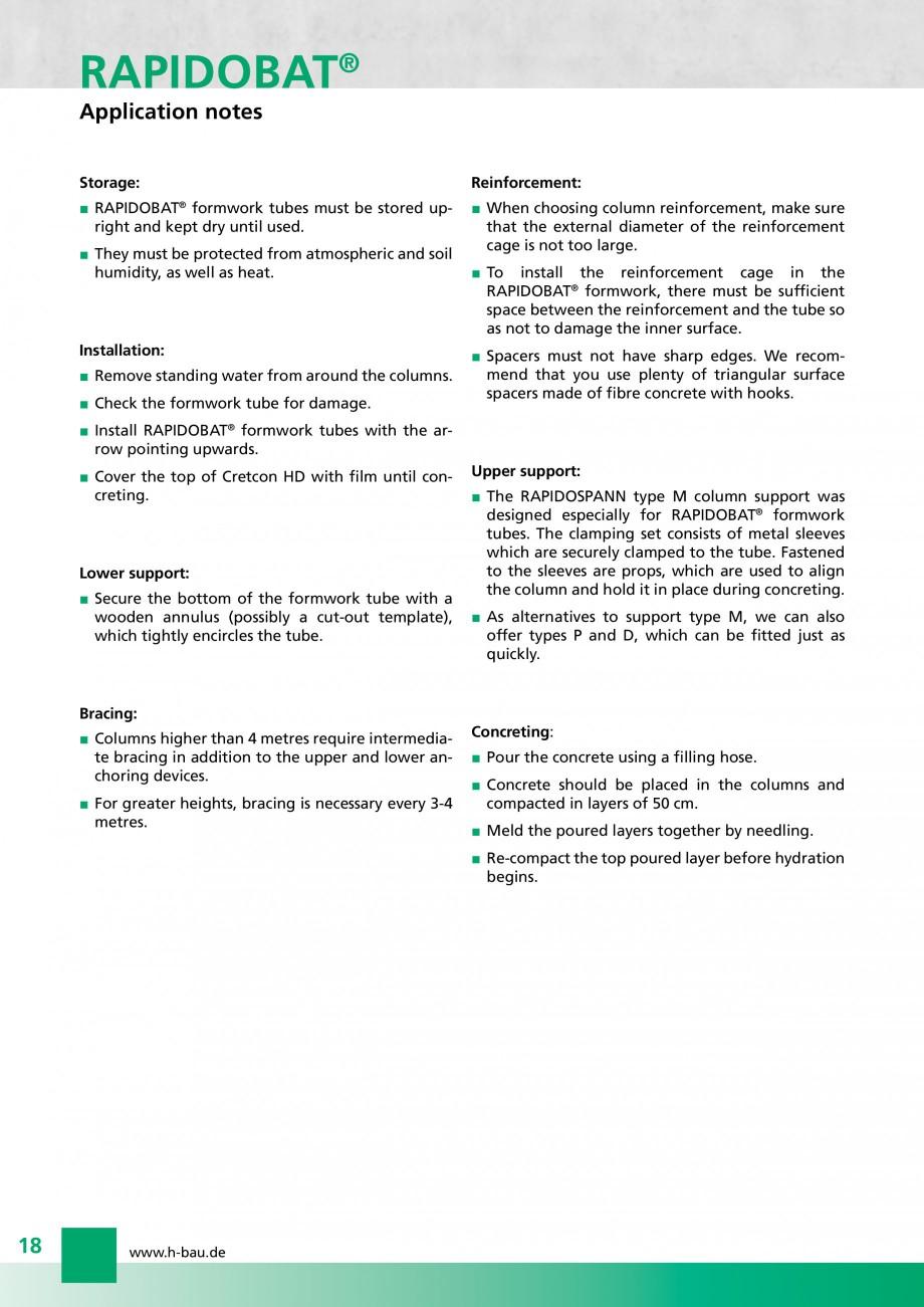 Pagina 18 - Cofraje circulare - RAPIDOBAT H-BAU Technik Fisa tehnica Engleza 0/450  22  240 x 450 ...