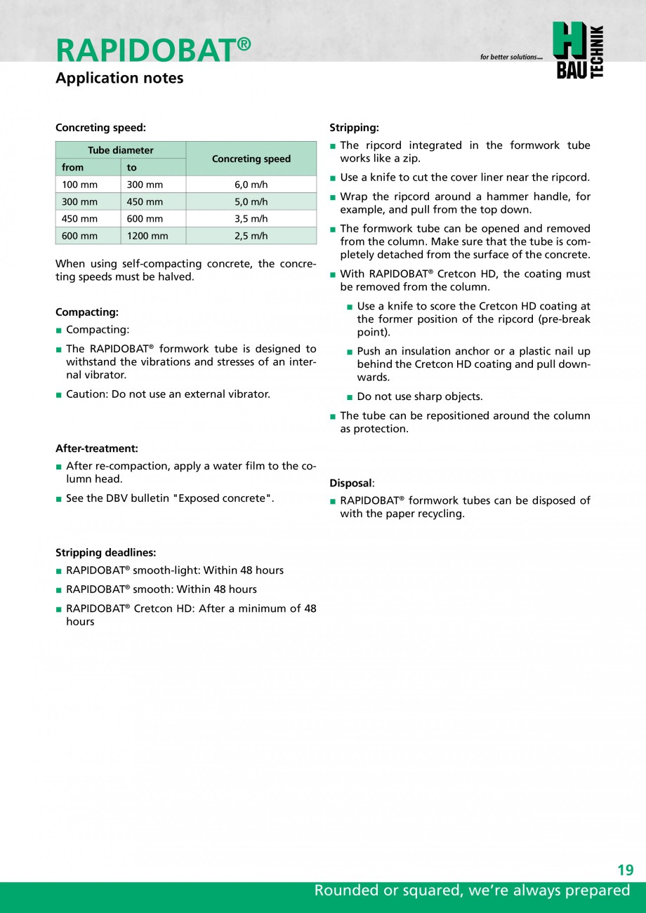 Pagina 19 - Cofraje circulare - RAPIDOBAT H-BAU Technik Fisa tehnica Engleza m]  Concrete...