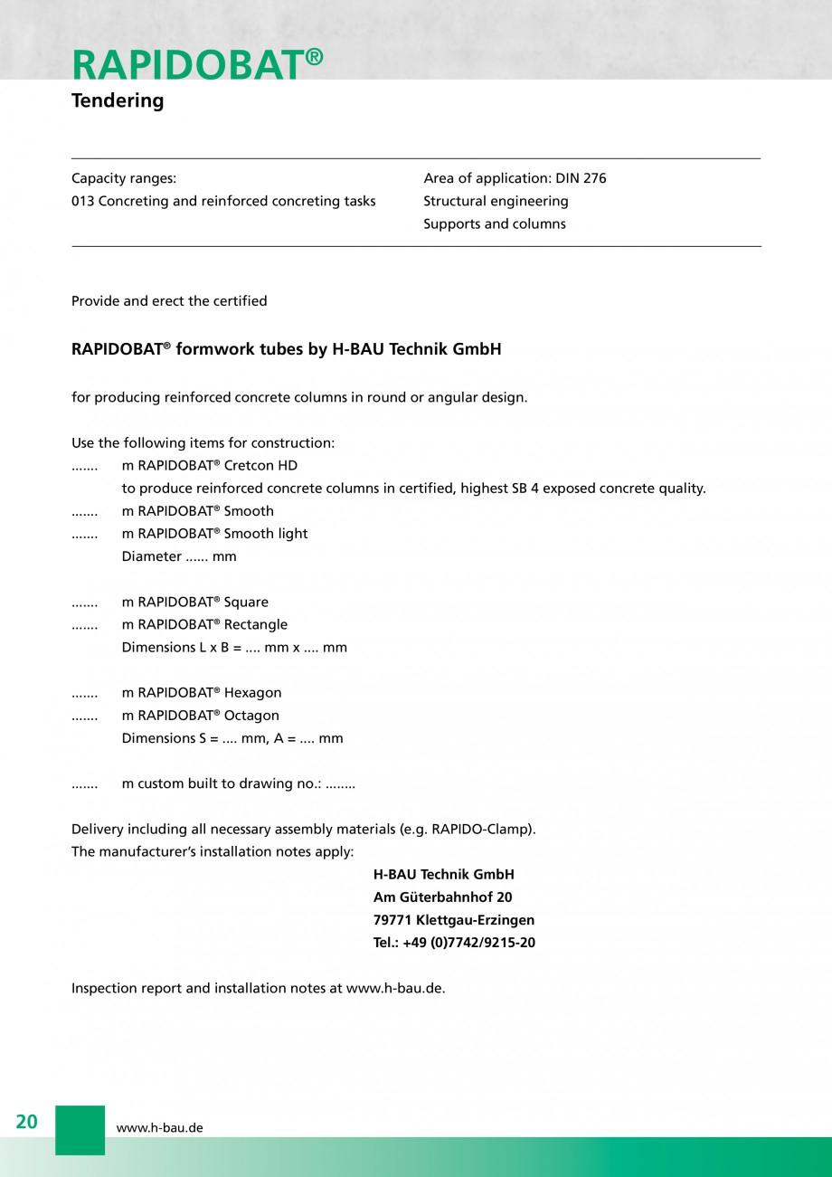 Pagina 20 - Cofraje circulare - RAPIDOBAT H-BAU Technik Fisa tehnica Engleza astic column heads with...