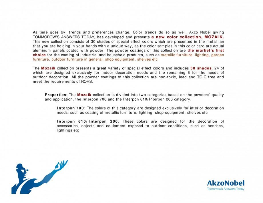 Pagina 2 - Prezentare vopsele pulberi INTERPON Mozaik Catalog, brosura Engleza the requirements of...