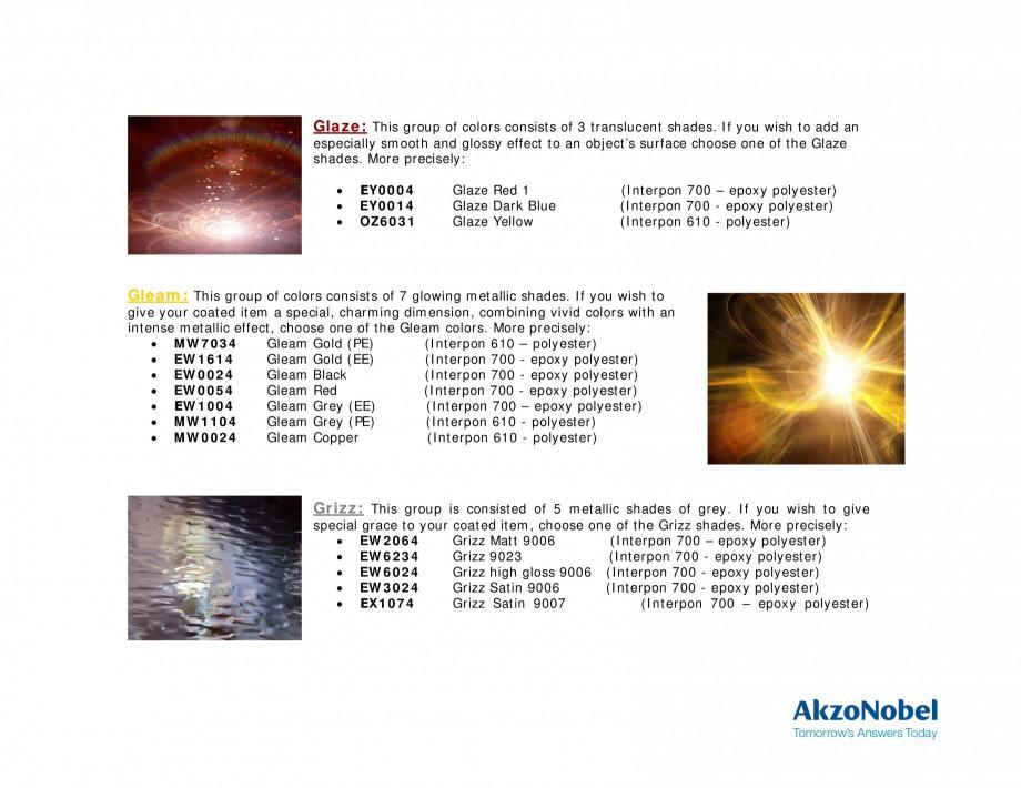 Pagina 4 - Prezentare vopsele pulberi INTERPON Mozaik Catalog, brosura Engleza  translucent shades. ...