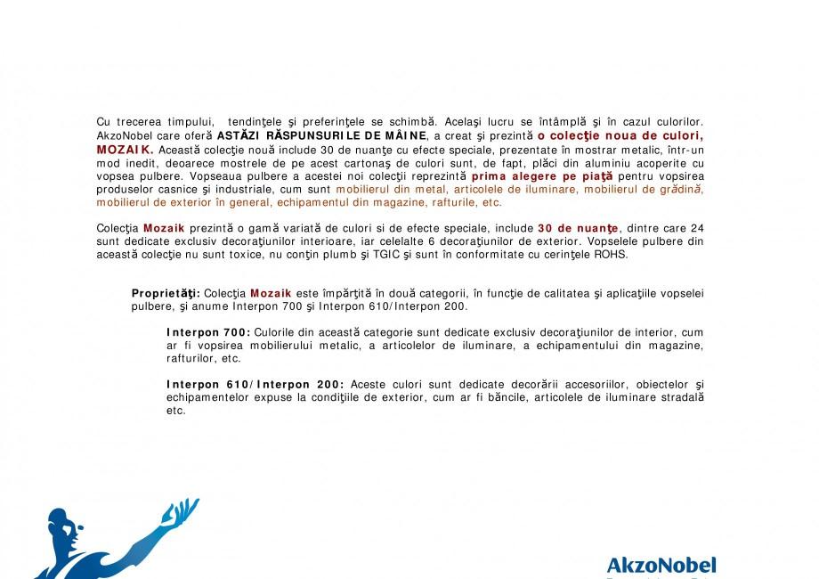 Pagina 2 - Noua colectie de culori pentru vopsea pulberi  INTERPON Mozaik Catalog, brosura Romana...