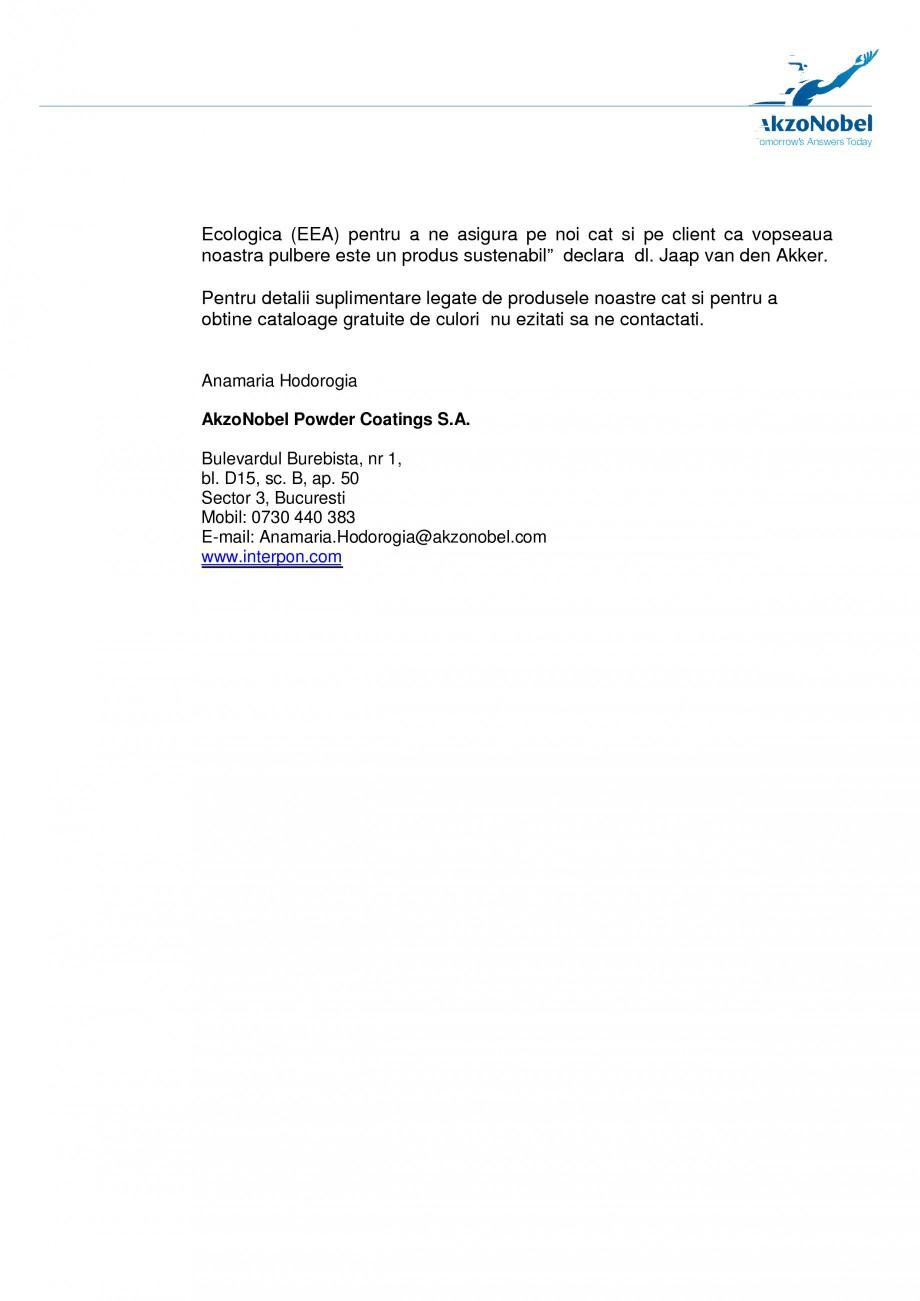 Pagina 2 - Vopseaua pulbere Interpon obtine certificarea Platinum SMaRT INTERPON Interpon D RAL,...