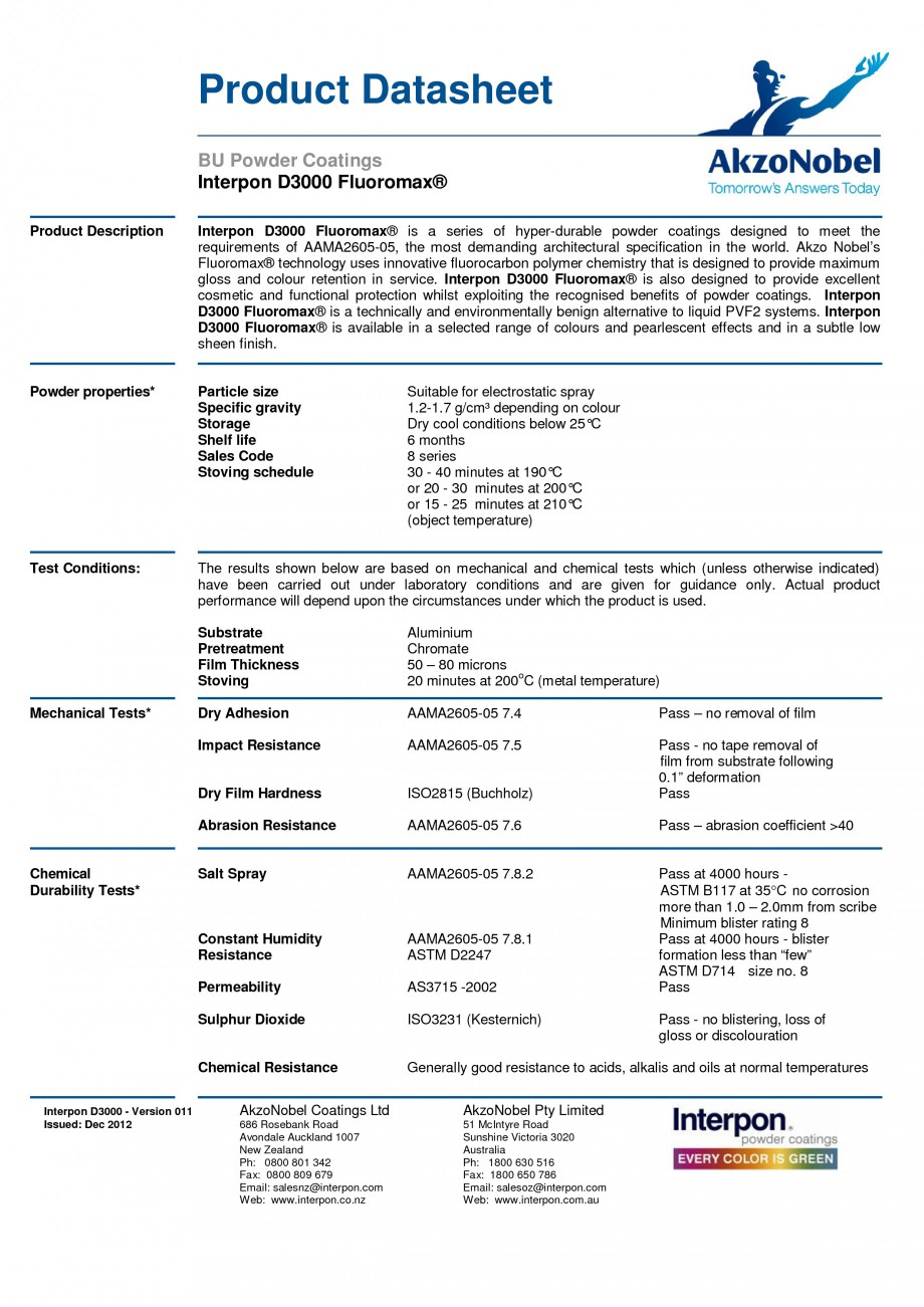 Pagina 1 - Vopsele pulberi INTERPON Interpon D3000 - Fluoromax Fisa tehnica Engleza Product...