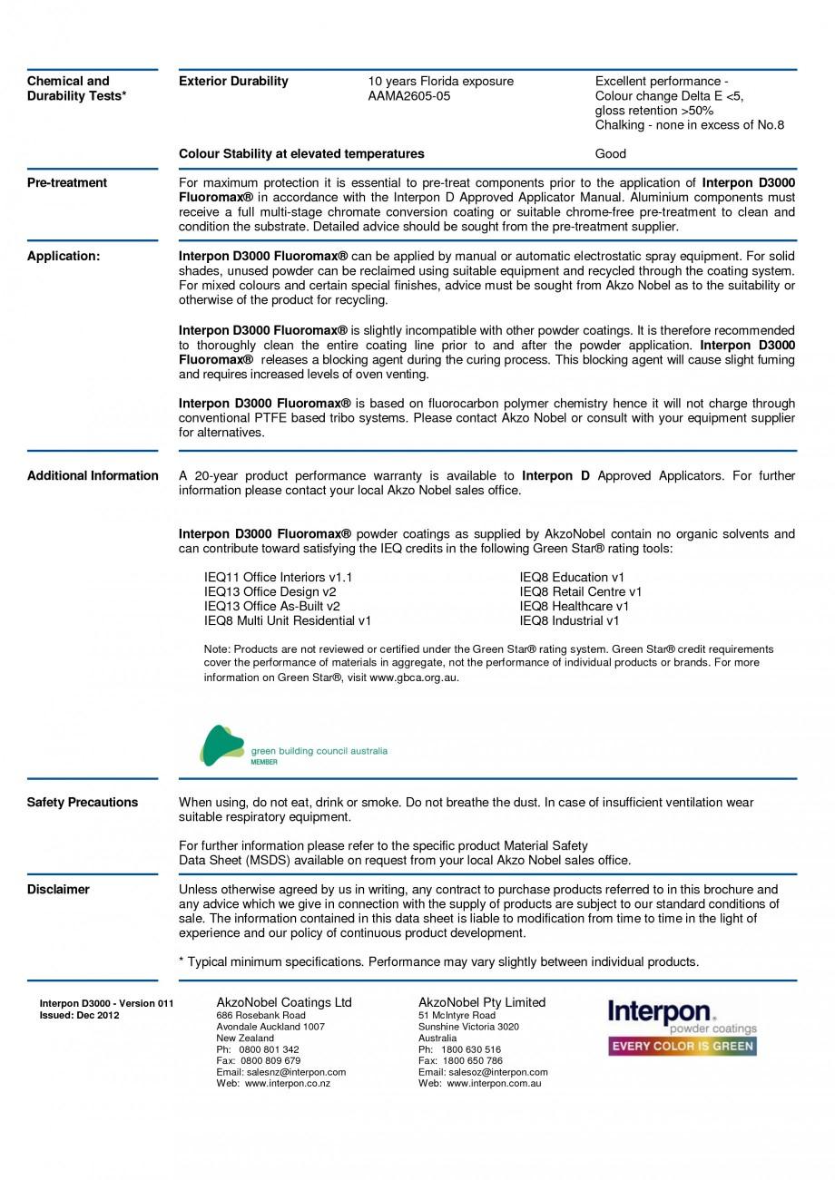 Pagina 2 - Vopsele pulberi INTERPON Interpon D3000 - Fluoromax Fisa tehnica Engleza �C 6 months 8...
