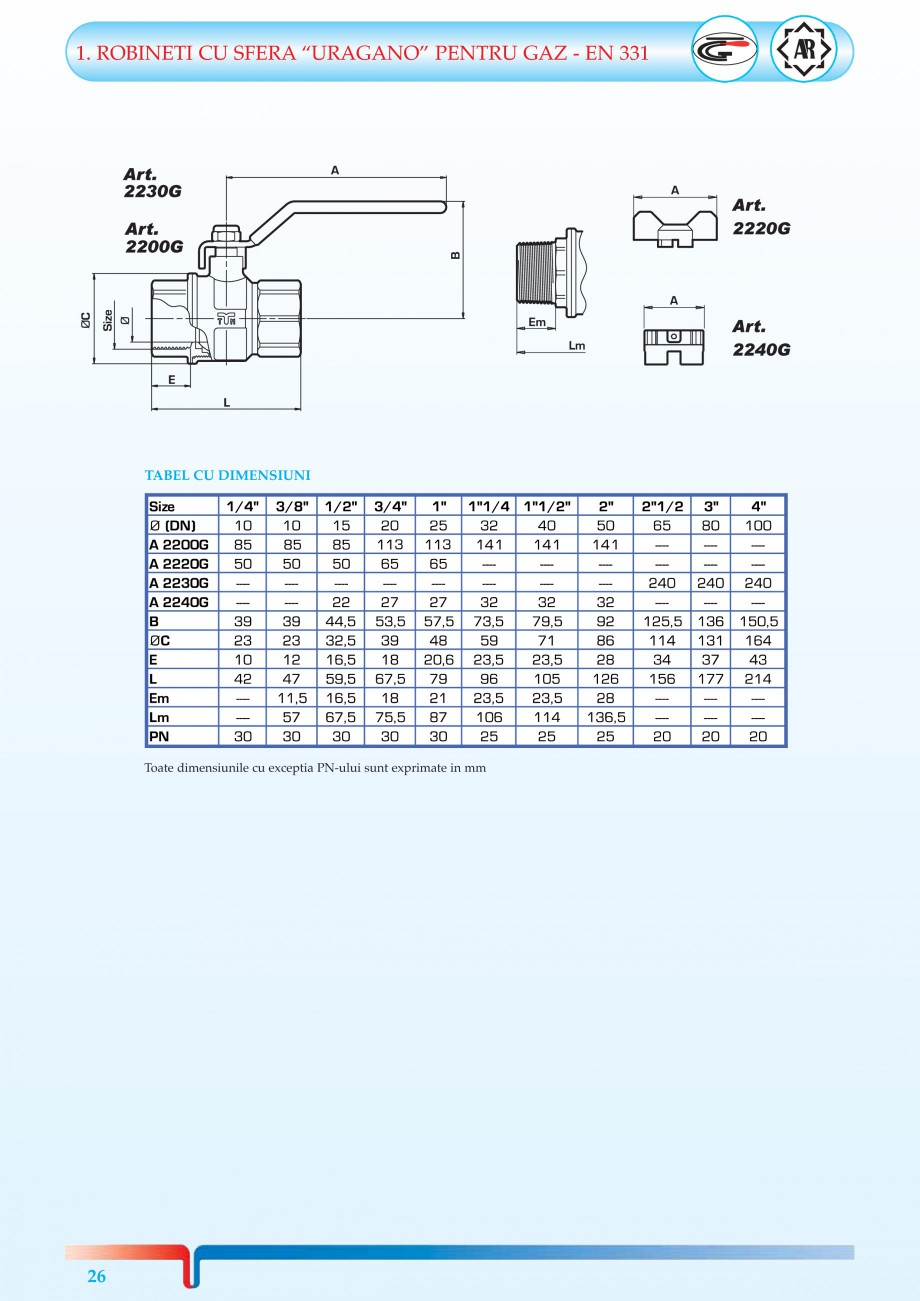 Pagina 4 - Robineti pentru instalatii de gaz TIEMME TORNADO, URAGANO Catalog, brosura Romana RA...