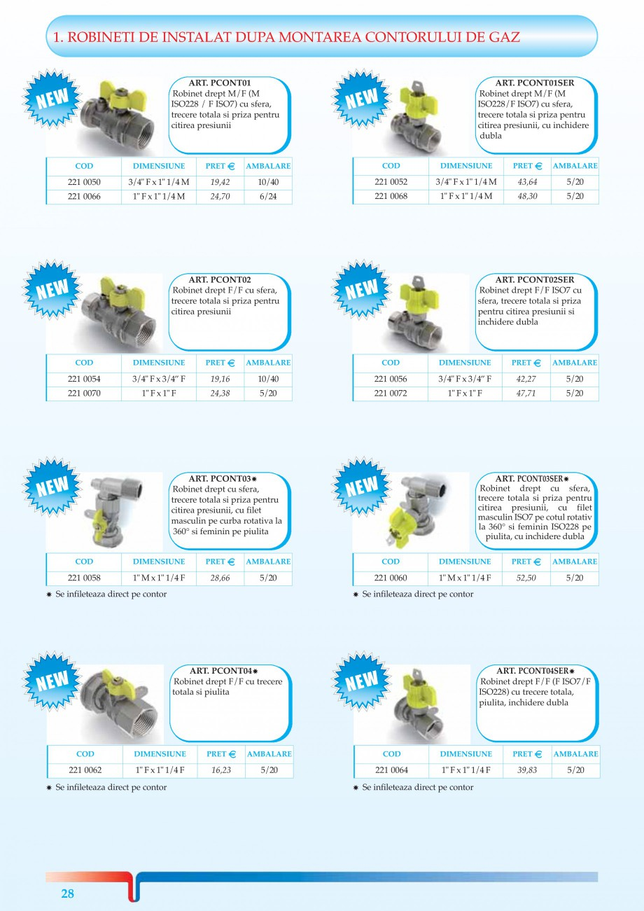 Pagina 6 - Robineti pentru instalatii de gaz TIEMME TORNADO, URAGANO Catalog, brosura Romana F  42...