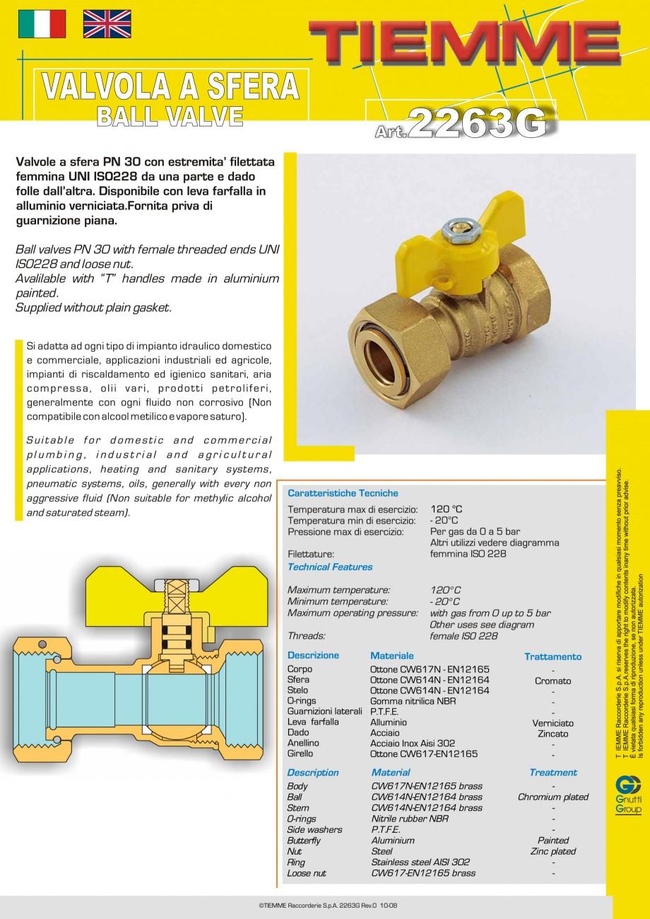 Fisa tehnica Robinet cu sfera pentru gaz TORNADO TIEMME Robineti cu sfera pentru sistemele de alimentare cu gaz TIEMME SYSTEMS  - Pagina 1