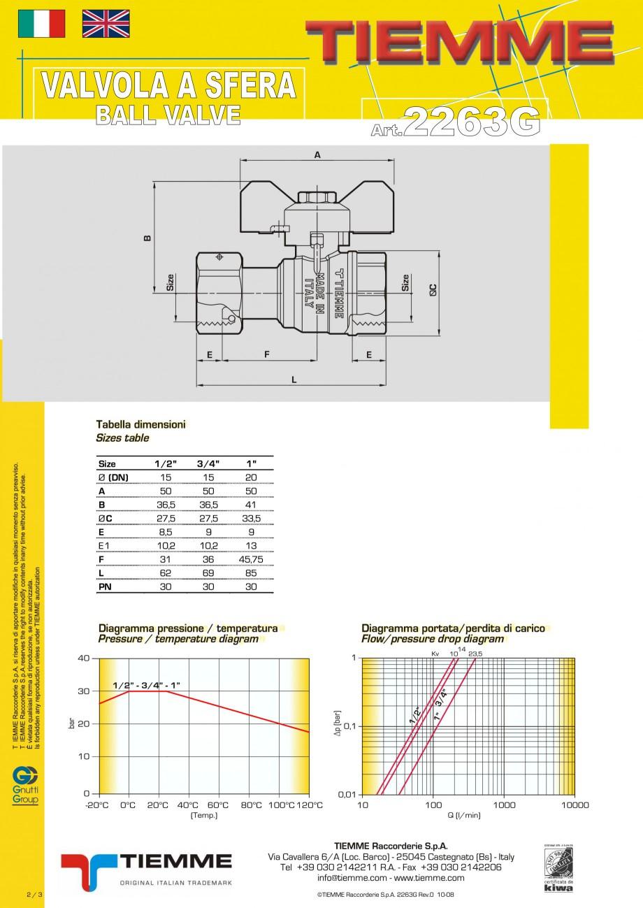 Fisa tehnica Robinet cu sfera pentru gaz TORNADO TIEMME Robineti cu sfera pentru sistemele de alimentare cu gaz TIEMME SYSTEMS  - Pagina 2