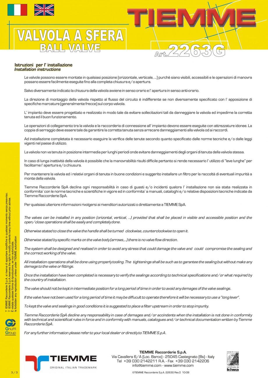 Fisa tehnica Robinet cu sfera pentru gaz TORNADO TIEMME Robineti cu sfera pentru sistemele de alimentare cu gaz TIEMME SYSTEMS  - Pagina 3