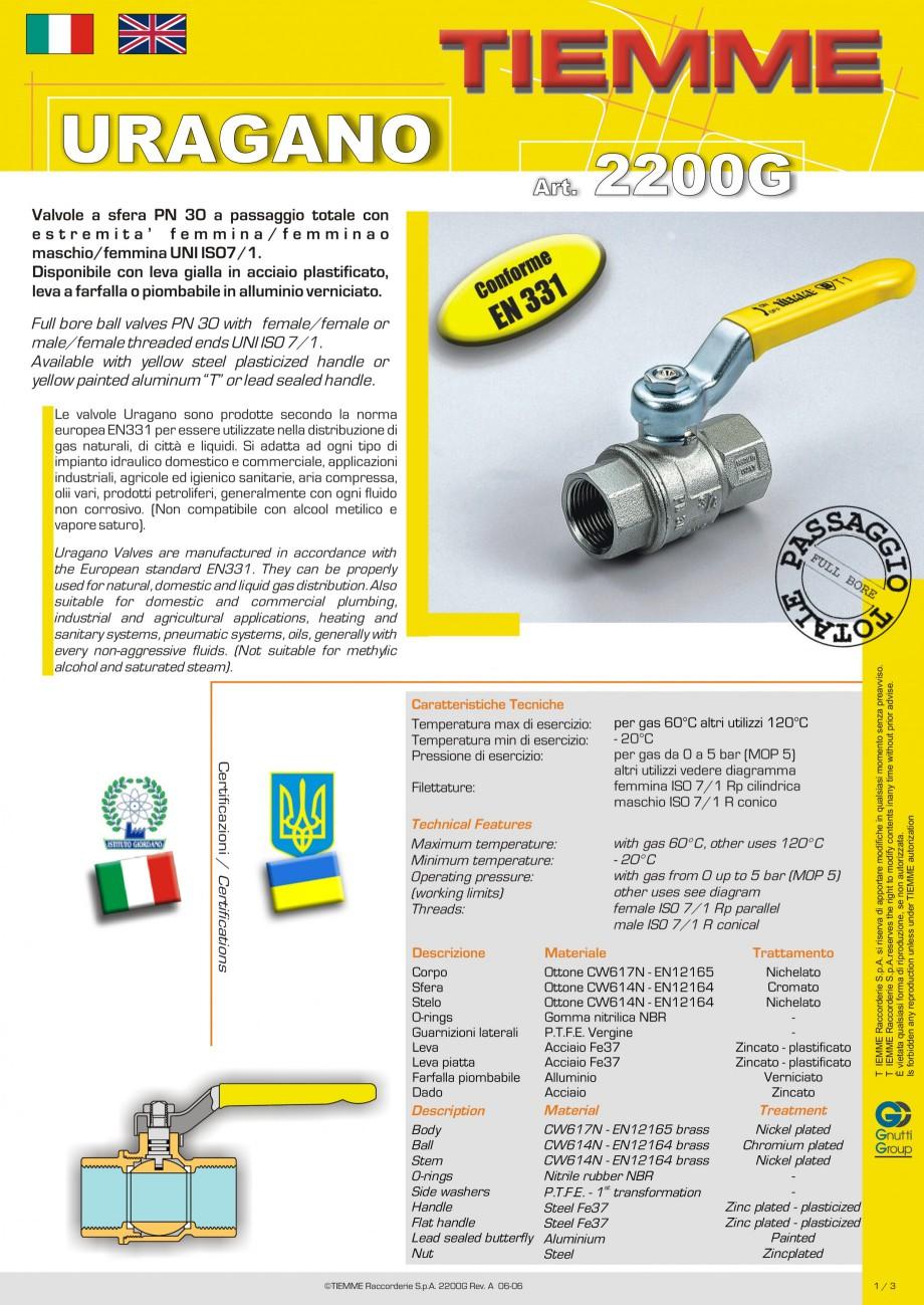 Pagina 1 - Robinet cu sfera pentru gaz TIEMME URAGANO Fisa tehnica Engleza, Italiana URAGANO Art....