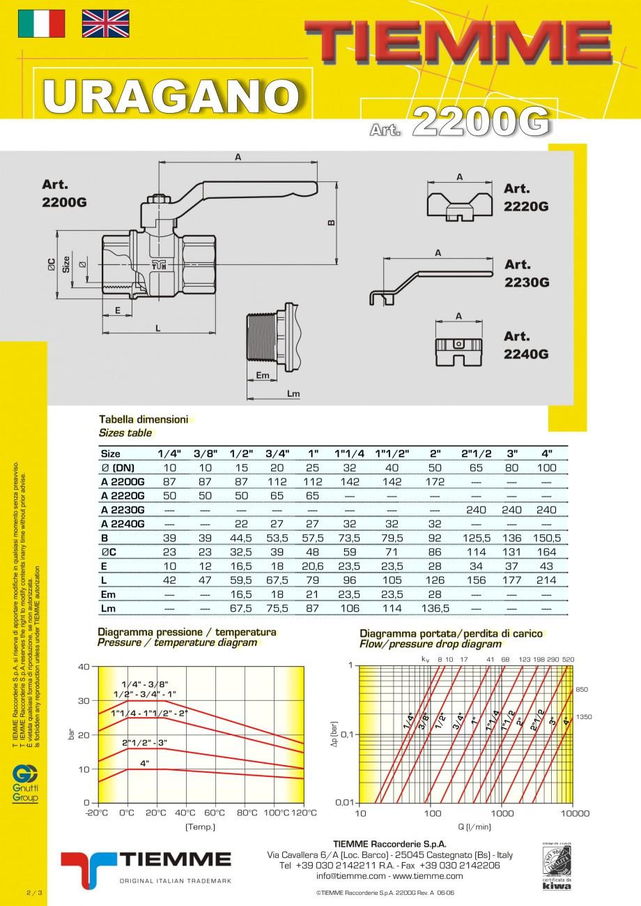 Pagina 2 - Robinet cu sfera pentru gaz TIEMME URAGANO Fisa tehnica Engleza, Italiana uitable for...