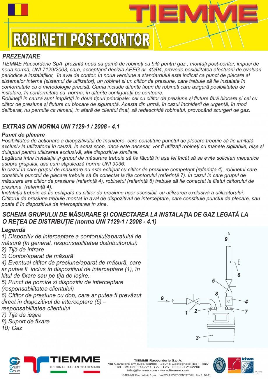 Pagina 2 - Robineti de gaz pentru instalare post-control TIEMME PCONT01, PCONT01SER, PCONT02, ...