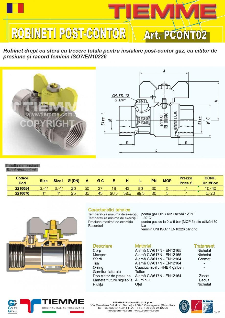 Pagina 5 - Robineti de gaz pentru instalare post-control TIEMME PCONT01, PCONT01SER, PCONT02, ...