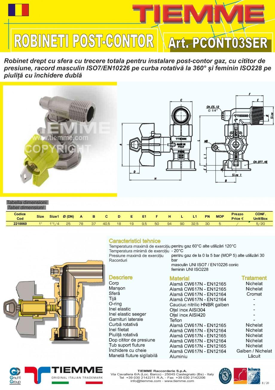 Pagina 8 - Robineti de gaz pentru instalare post-control TIEMME PCONT01, PCONT01SER, PCONT02, ...