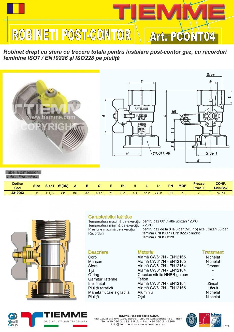 Pagina 9 - Robineti de gaz pentru instalare post-control TIEMME PCONT01, PCONT01SER, PCONT02, ...