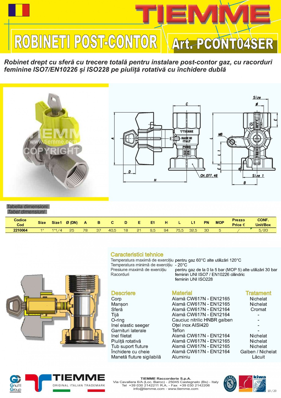 Pagina 10 - Robineti de gaz pentru instalare post-control TIEMME PCONT01, PCONT01SER, PCONT02, ...