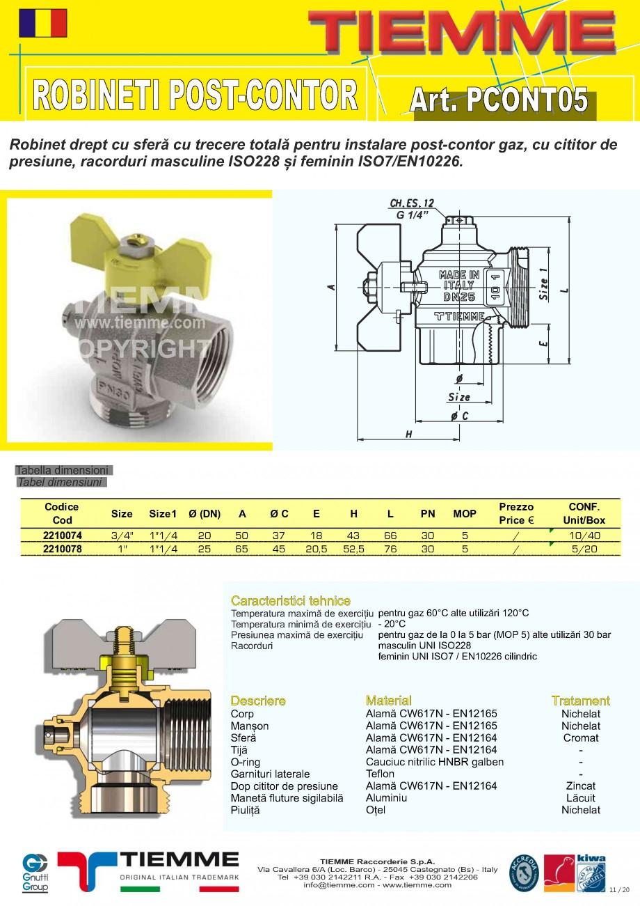 Pagina 11 - Robineti de gaz pentru instalare post-control TIEMME PCONT01, PCONT01SER, PCONT02, ...