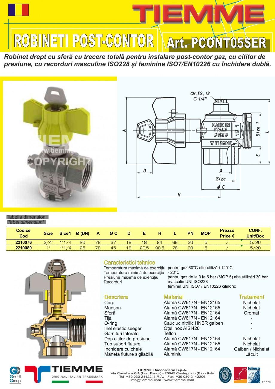 Pagina 12 - Robineti de gaz pentru instalare post-control TIEMME PCONT01, PCONT01SER, PCONT02, ...