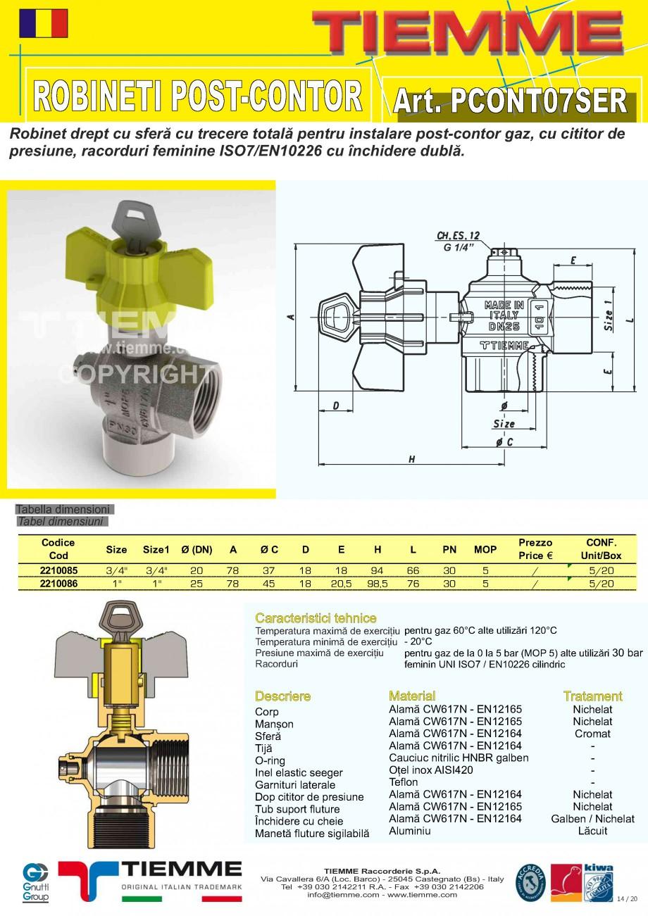 Pagina 14 - Robineti de gaz pentru instalare post-control TIEMME PCONT01, PCONT01SER, PCONT02, ...