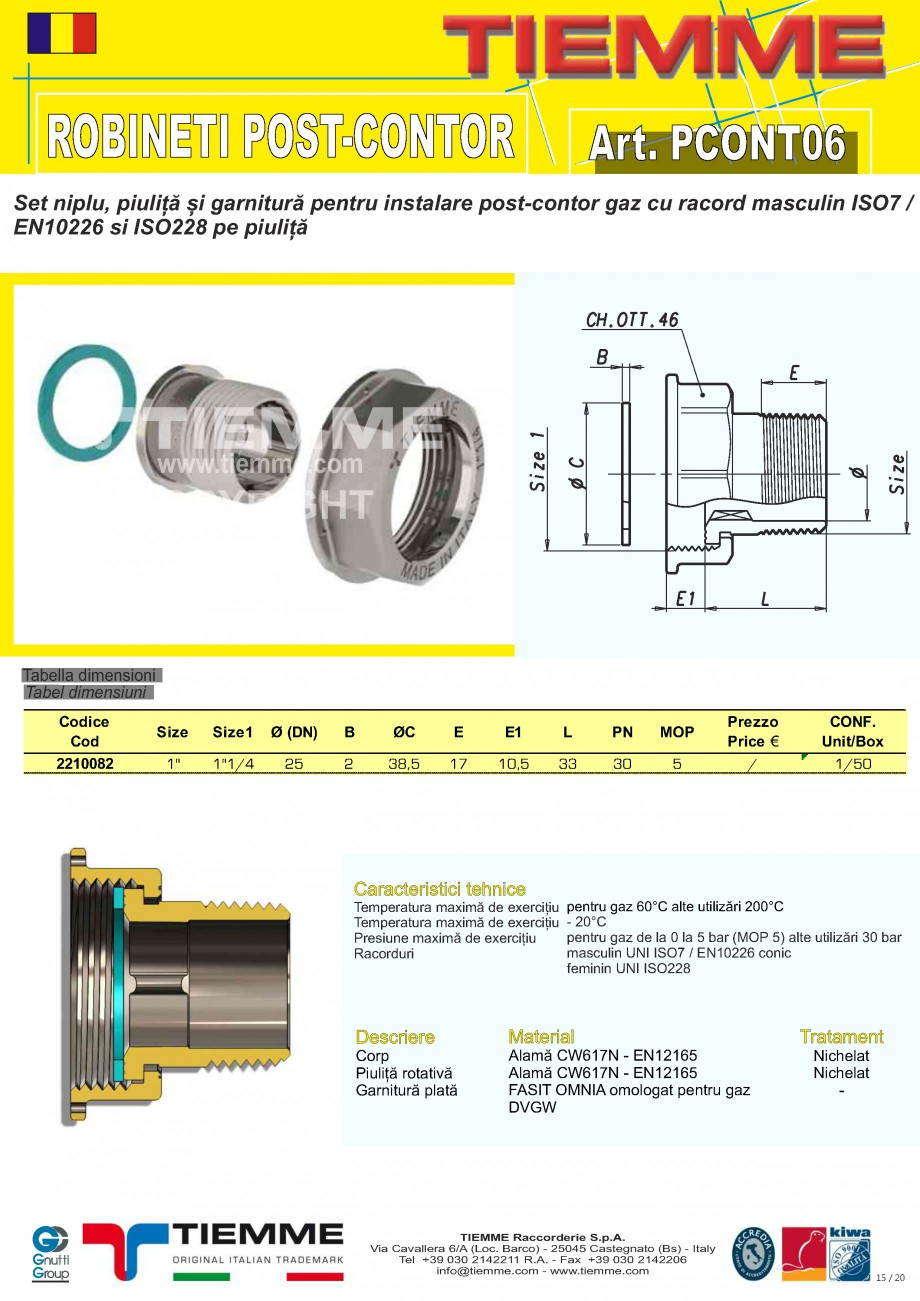 Pagina 15 - Robineti de gaz pentru instalare post-control TIEMME PCONT01, PCONT01SER, PCONT02, ...