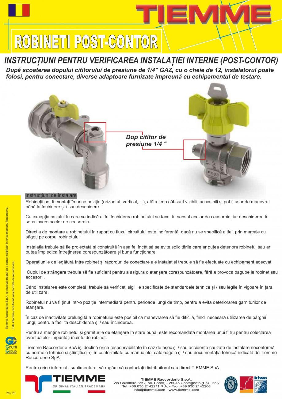 Pagina 20 - Robineti de gaz pentru instalare post-control TIEMME PCONT01, PCONT01SER, PCONT02, ...