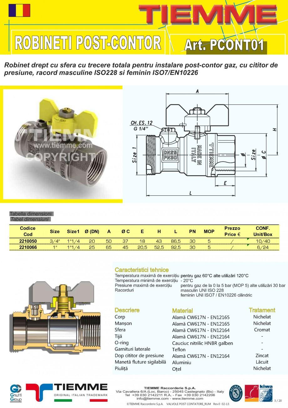 Pagina 1 - Robinet de gaz pentru instalare post-control TIEMME PCONT01 Fisa tehnica Romana ROBINETI ...