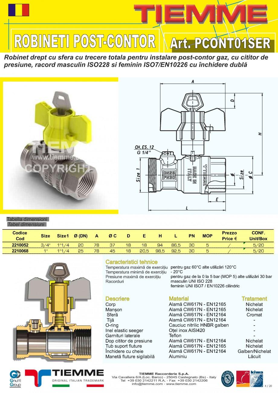 Pagina 1 - Robinet de gaz pentru instalare post-control TIEMME PCONT01SER Fisa tehnica Romana...