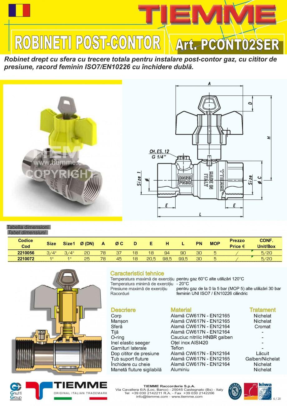 Pagina 1 - Robinet de gaz pentru instalare post-control TIEMME  PCONT02SER Fisa tehnica Romana...