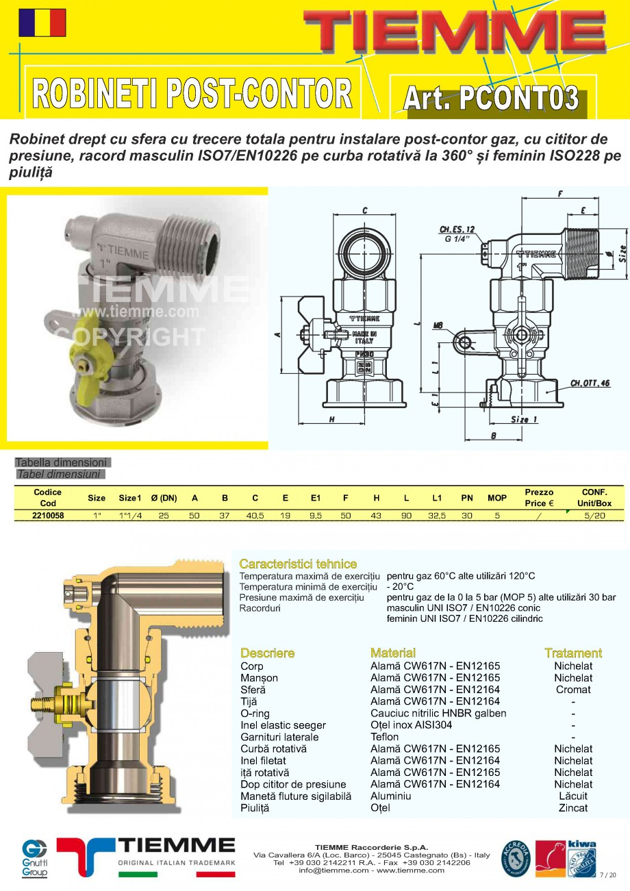 Pagina 1 - Robinet de gaz pentru instalare post-control TIEMME PCONT03 Fisa tehnica Romana ROBINETI ...