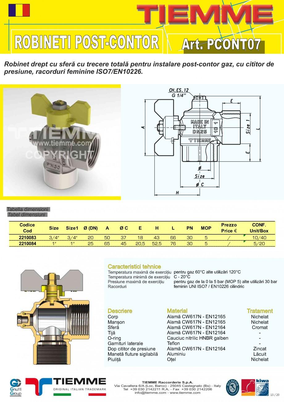Pagina 1 - Robinet de gaz pentru instalare post-control TIEMME PCONT07 Fisa tehnica Romana ROBINETI ...